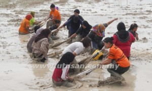 SUKAN tarik upih mendapat sambutan kaum wanita sempena Pesta Sukan Bendang 2012