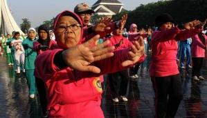 """Sejumlah peserta melakukan senam dalam acara """"Jambore Nasional Warga Tua"""" untuk memperingati Hari Lanjut Usia Nasional 2012"""