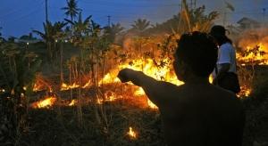 BAKAR LAHAN-Seorang warga membersihkan lahan pertaniannya dengan cara membakar, di tepi Jalan Lintas Timur Kabupaten Bengkalis, Riau, Kamis (27/6).