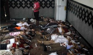 Jasad demonstran pendukung presiden terguling Mesir, Muhammad Mursi, diletakkan di lantai di rumah sakit darurat
