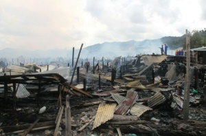 HAMPIR 200 rumah atas air di Kampung Cenderamata, Batu Sapi dekat sini musnah kebakara