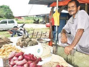 Mat Rani menunggu pelanggan datang membeli ubi di gerainya