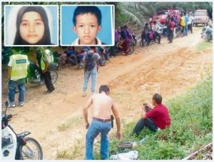 Penduduk sekitar turut membantu mencari kanak-kanak terbabit. Gambar kecil: Ainaadia dan Mohd Hafiz.