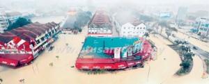 ANDANGAN dari udara sebahagian bandar Kuantan semalam