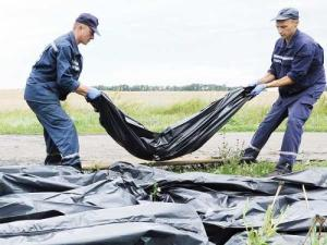 Ukrainian rescue workers collect bodies of victims at the site of the crash of a Malaysia Airlines plane.  AFP