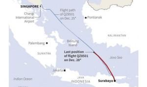 Peta yang menunjukan lokasi terakhir pesawat Air Asia QZ8501
